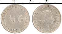 Изображение Монеты Антильские острова 1/4 гульдена 1967 Серебро UNC- Юлиана
