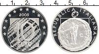 Изображение Монеты Италия 10 евро 2005 Серебро Proof 50 лет мира и содруж