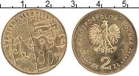 Изображение Монеты Польша 2 злотых 2010 Латунь UNC- 30 лет Польского авг