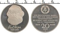 Изображение Монеты ГДР 20 марок 1983 Медно-никель Proof- А Карл Маркс. 100-ле