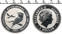 Изображение Монеты Австралия 1 доллар 2004 Серебро Proof Елизавета II. Кукаба