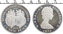 Изображение Монеты Гибралтар 25 пенсов 1972 Серебро Proof- 25 лет правления кор