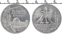 Изображение Монеты ФРГ 10 марок 2000 Серебро UNC- D. 10 лет воссоедине