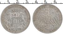 Изображение Монеты Гамбург 3 марки 1909 Серебро XF J