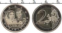 Изображение Мелочь Люксембург 2 евро 2021 Биметалл UNC 40 лет Свадьбы Велик