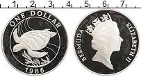 Изображение Монеты Бермудские острова 1 доллар 1986 Серебро Proof- Охрана дикой природы
