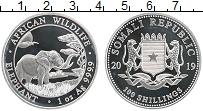 Изображение Монеты Сомали 100 шиллингов 2019 Серебро Proof Слон