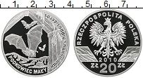 Изображение Монеты Польша 20 злотых 2010 Серебро Proof Малый подковонос, ле