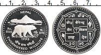 Изображение Монеты Непал 500 рупий 1993 Серебро Proof- Защита животного мир
