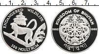 Изображение Монеты Бутан 300 нгултрум 1992 Серебро Proof Сохранение животного