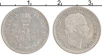 Изображение Монеты Австрия 5 крейцеров 1858 Серебро XF А. Франс Иосиф I