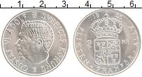 Изображение Монеты Швеция 2 кроны 1955 Серебро UNC Густав VI Адольф