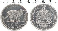 Изображение Монеты Венесуэла 25 боливар 1975 Серебро UNC- Леопард