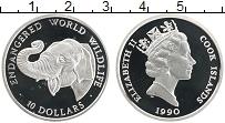 Изображение Монеты Острова Кука 10 долларов 1990 Серебро Proof Слон