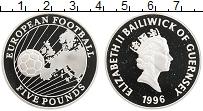 Изображение Монеты Гернси 5 фунтов 1996 Серебро Proof Чемпионат Европы по