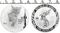 Изображение Монеты Южная Корея 1 унция 2020 Серебро UNC Корейский тигр