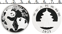 Изображение Монеты Китай 10 юаней 2021 Серебро Proof Панды