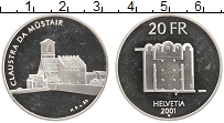 Изображение Монеты Швейцария 20 франков 2001 Серебро Proof Монастырь Мустар