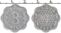 Изображение Монеты Мальта 3 милса 1972 Алюминий XF