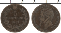 Изображение Монеты Италия 5 чентезимо 1867 Бронза VF Витторио Эммануил II
