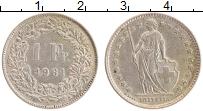 Изображение Монеты Швейцария 1 франк 1961 Серебро XF