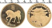 Изображение Монеты Северная Корея 20 вон 2014 Латунь UNC- Год лошади