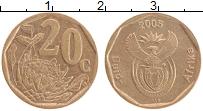 Изображение Монеты ЮАР 20 центов 2005 Латунь XF
