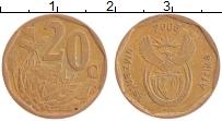 Изображение Монеты ЮАР 20 центов 2006 Латунь XF