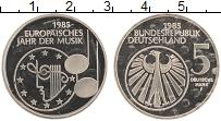Изображение Монеты ФРГ 5 марок 1985 Медно-никель Proof Год музыки в Европе,
