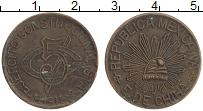 Изображение Монеты Мексика 5 сентаво 1915 Медь XF Гражданская война. Ч