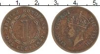 Изображение Монеты Белиз 1 цент 1951 Бронза XF Британский Гондурас.