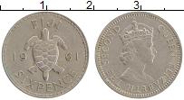 Изображение Монеты Фиджи 6 пенсов 1961 Медно-никель XF Елизавета II.