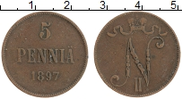 Изображение Монеты 1894 – 1917 Николай II 5 пенни 1897 Медь XF