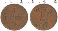 Изображение Монеты 1894 – 1917 Николай II 5 пенни 1908 Медь XF