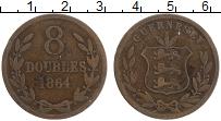 Изображение Монеты Гернси 8 дублей 1864 Бронза XF герб
