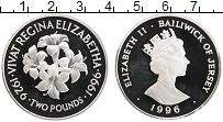 Изображение Монеты Остров Джерси 2 фунта 1996 Серебро Proof 70 лет королеве Елиз