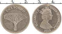 Изображение Монеты Гибралтар 1 фунт 2016 Латунь XF Елизавета II