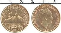 Изображение Монеты Дания 20 крон 2012 Латунь UNC- Корабль Kong Frederi