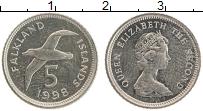 Изображение Монеты Фолклендские острова 5 пенсов 1998 Медно-никель UNC Елизавета II.