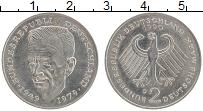 Изображение Монеты ФРГ 2 марки 1990 Медно-никель XF D. Курт Шумахер