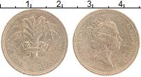 Изображение Монеты Великобритания 1 фунт 1985 Латунь VF Елизавета II