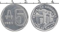 Изображение Монеты Аргентина 5 аустралес 1989 Алюминий UNC