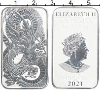 Изображение Монеты Австралия 1 доллар 2021 Серебро UNC Елизавета II. Дракон