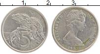 Изображение Монеты Новая Зеландия 5 центов 1982 Медно-никель XF Елизавета II.