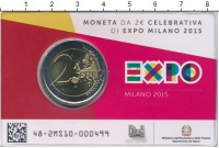Изображение Подарочные монеты Италия 2 евро 2015 Биметалл UNC Выставка  ЭКСПО  в