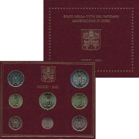 Изображение Подарочные монеты Ватикан Евронабор 2021 года 2021  UNC Годовой набор монет
