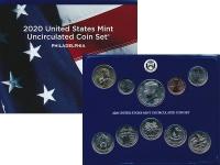 Изображение Подарочные монеты США Набор 2020 года 2020  UNC Набор из 10 монет от