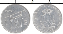 Изображение Монеты Сан-Марино 2 лиры 1979 Алюминий UNC