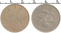 Изображение Монеты Гонконг 1 доллар 1997 Медно-никель XF Дракон,цветок орхиде