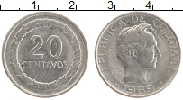 Изображение Монеты Колумбия 20 сентаво 1969 Медно-никель XF Симон Боливар